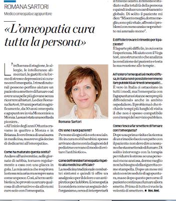 I rimedi omeopatici intervista sul Cittadino, Monza di Romana Sartori